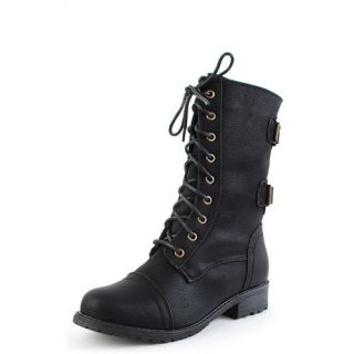 Women Combat Army Military Motorcycle Riding Boot Black TIMBERLY 02