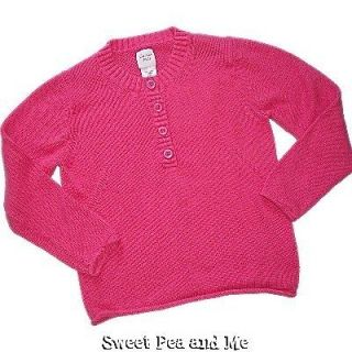 GARNET HILL Girls Henley Sweater 100% Cotton size L   8 9 10 Pink
