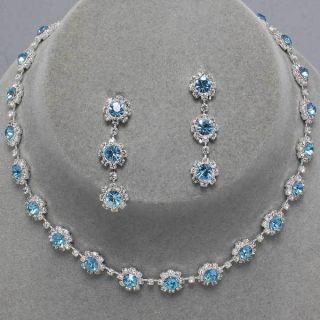 Silver Aquamarine Circle Charm Clear Rhinestone Earrings Necklace