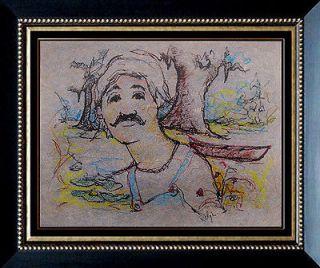 George Blue Dog Rodrigue Pastel on Paper Signed Pop Art Cajun Painting