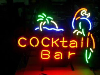 Cocktail Bar Parrot Logo Beer Pub Neon Light Sign M08
