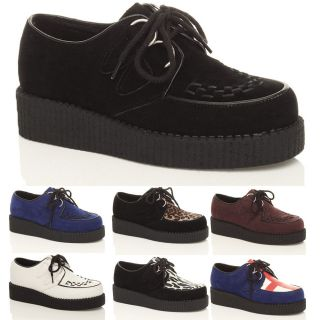 WOMENS LADIES FLAT PLATFORM WEDGE LACE UP GOTH PUNK CREEPERS SHOES