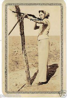 Vintage Sepia Photograph Snapshot Woman Shooting Rifle Hunting Target