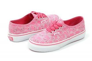 NEW VANS AUTHENTIC HELLO KITTY YOTH PINK/TRUWHT VN 0OKNL8T ORIGINAL