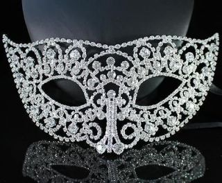 RARE MASK CLEAR AUSTRIAN RHINESTONE CRYSTAL PARTY BRIDAL COSTUME