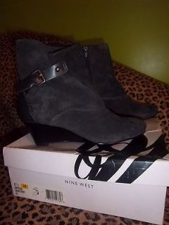 womens nine west boots 6.5 tulia gray wedge suede leather
