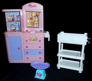 Barbie Nursery Baby Furniture for Dollhouse Changing Table Dresser