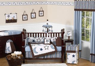 BLUE WHITE STARS MOONS BABY CRIB BEDDING SET FOR NEWBORN BOY SWEET