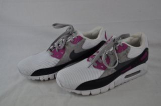 NIKE WOMENS AIR MAX 90 CURRENT ID 370102 001 WHITE DARK GREY RAVE PINK
