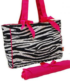 Pink Zebra Quilted Diaper Bag With Changing Pad Baby Bag Tote Bag