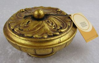 Vtg Freeman McFarlin Anthony Gold Leaf Covered Footed Candy Dish