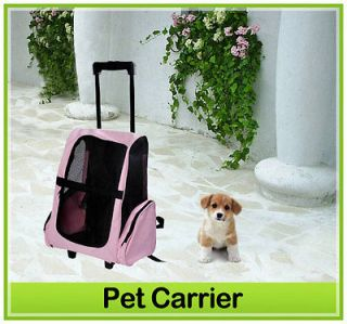 New 4 IN 1 Pet Dog Backpack Carrier Airline Rolling Luggage Travel Bag