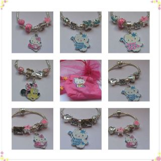 HELLO KITTY/MINNIE MOUSE CHILDRENS/BABI​ES CHARM BRACELET PINK/BLUE