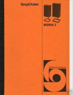 Original B & O Service Manual Beovox 2 Speakers