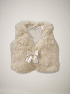 NWT Baby Gap Aviator Brick Lane Faux Fur Vest Ivory Frost L / X Large