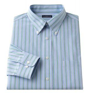New Croft & Barrow Mens Patterned Dress Shirt Blue/Green/White
