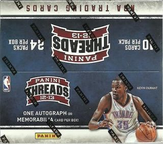 2012 13 Panini THREADS Basketball NBA Trading Cards Sealed Retail Box