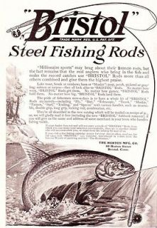 1911 Ad Horton Manufacturing Co Bristol Steel Fishing Rods Equipment