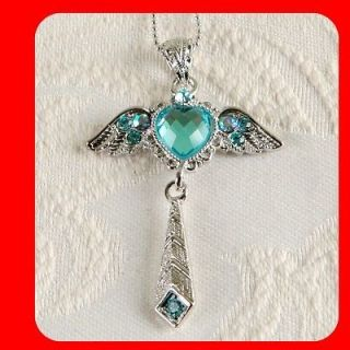 Sky Blue Angel Crystals White Gold Plated Beautiful Fashion pendant