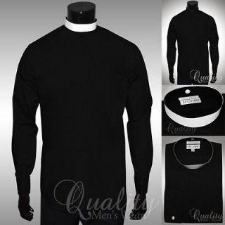 Lucasini Black Clergy Shirt Full Collar 17.5 36/37 White Band French