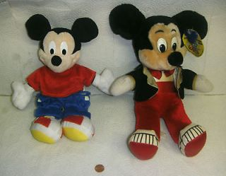 "Rare Vintage Mickey Mouse Plush Doll 15"" & Mickey Mouse 10 FISHER"