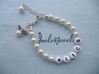 Acrylic Pearl Bead Guardian Angel Charm Bracelet FREE POST