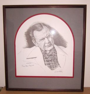 PAUL BEAR BRYANT ALABAMA FRAMED AUTOGRAPHED ERNIE PATTON LITHOGRAPH