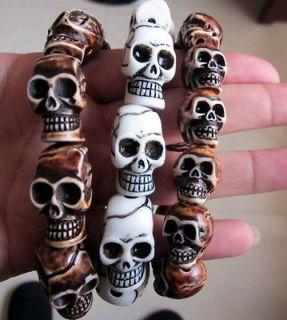 Tibet 3PCS Mans Cool Skull Beads Yak Bone Biker Bracelet #06