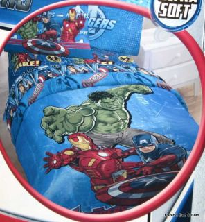 Marvel Avengers Boys Hulk Twin Comforter Sheets Wall Stickers Throw