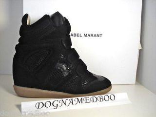 ISABEL MARANT bekket BAZIL black snakeskin suede wedge sneaker shoe 37