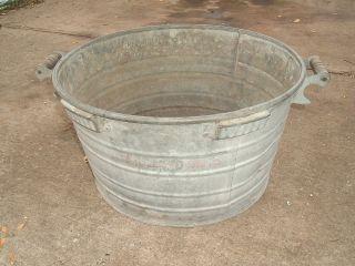 vtg rochester galvanized laundry wash tub wood handles & hooks hard to