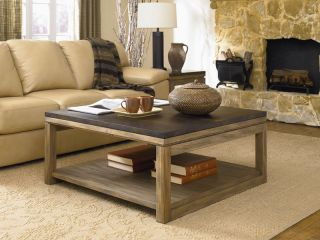 Natural Driftwood/Antiqued Copper Farmhouse Square Coffee Table