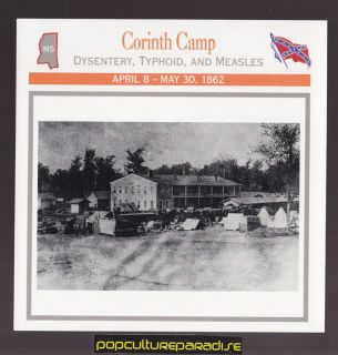 CORINTH CAMP Mississippi Tishomingo Hotel U.S. CIVIL WAR CARD