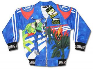 New Ben 10 Alien Force Boy Kid Blue Jacket Size XL Age 8 9 #717