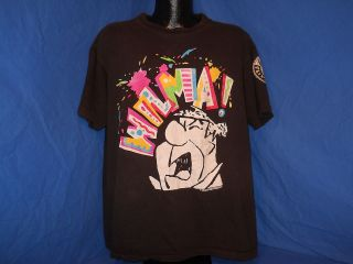 vintage 90S THE FLINTSTONES FRED WILMA! BLACK NEON ALL OVER FUNNY t