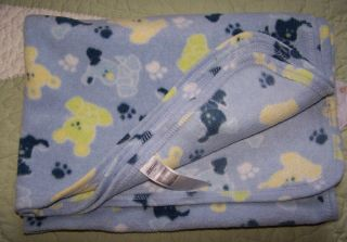 St. Bernard Blue w/Green Puppy Dogs & Paw Prints Fleece Baby Boy