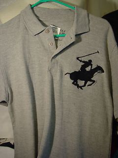 New Beverly Hills Polo Club gray polo shirt/polo player on horse size