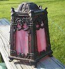 ANTIQUE LIGHT LAMP SHADE TIFFANY BENT GREEN SLAG GLASS