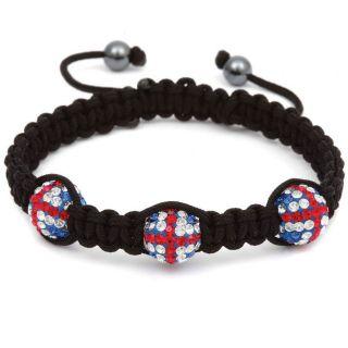 British Union Jack 3 Ball Shamballa Bracelet
