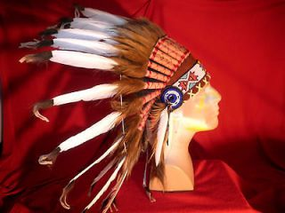 NATIVE AMERICAN HANDCRAFTED WAR BONNET HEADDRESS ARAPAHO 1