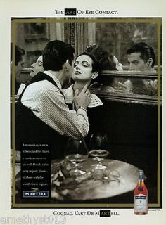 MARTELL COGNAC AD 1991 THE ART OF EYE CONTACT ~ COUPLE IN A BAR