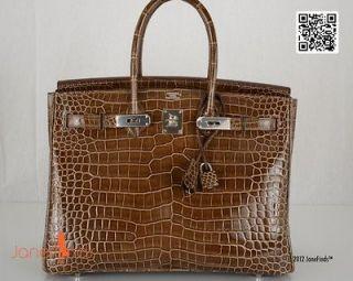 JUST stunning HERMES BIRKIN BAG 35cm CROCODILE SHINY GRIS ELEPHANT
