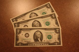 Crisp Uncirculated $2 Two Dollar Bill US Currency