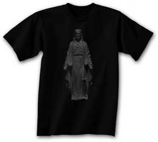 New Dot Matrix Jesus Mens Picture T Shirt in Black