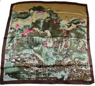 Green Square 35 100% Silk Scarf Kerchief Printing Lotus Yuanyang Bird