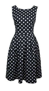 50s Style Black & White Polka Dot Day Dress Peggy Size 18 New