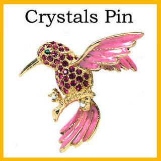 Pink Sparkling Crystals Humming Bird Pin Brooch (Gd)