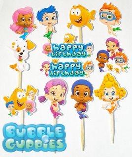 12 Bubble Guppies Birthday Party Cupcake Cake Sticker Toppers Sticks
