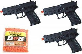 AIRSOFT PISTOL M9 92 FS BERETTA BLACK HAND GUN COMBO LOT w/ 1000 BBs