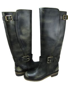 Lucky Brand Womens Angel Black Rub Off Casual Mid Calf Fashion Leather